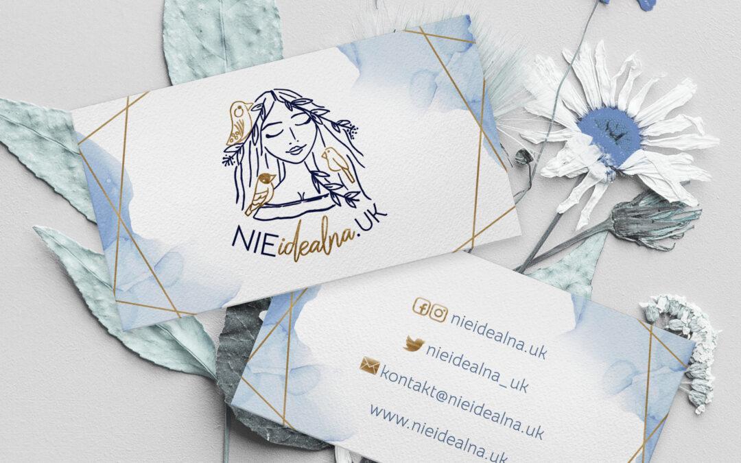 Logo i wizytówki dla bloga Nieidealna w UK