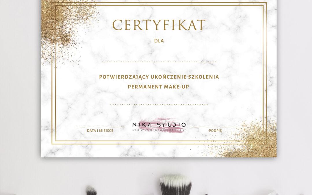 Projekt certyfikatu dla Nika Studio
